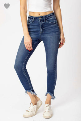 Gemma High Rise Ankle Frayed Skinny