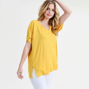 Solid Color Short Sleeve Top