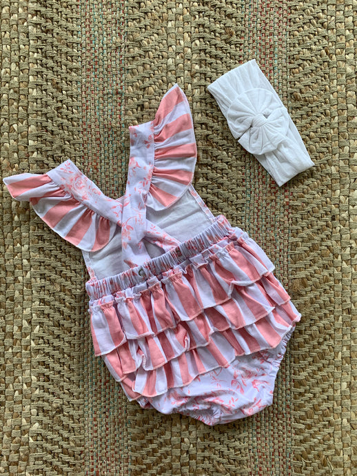 Girls Pink Rose Romper