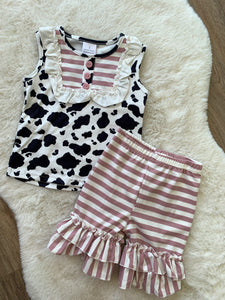 Girls Cow Print & Mauve Stripe Set