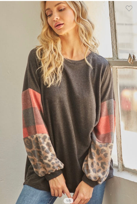 Plaid and Leopard Bubble Sleeve Top