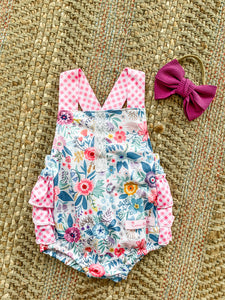 Girls Pink Gingham Print Romper