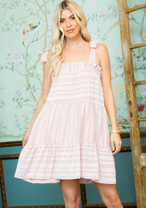 Ruffled Tie Dress - Mauve