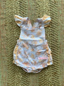 Girls Peach Rose Romper