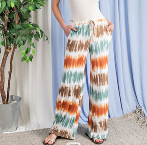 Stripe Print Pants with Tie Dye Design
