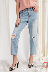 Distressed Washed Denim Pants