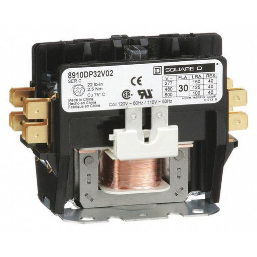 8910DP32V02 - Square D 30 Amp 2 Pole 600 Volt Definite Purpose Contactors