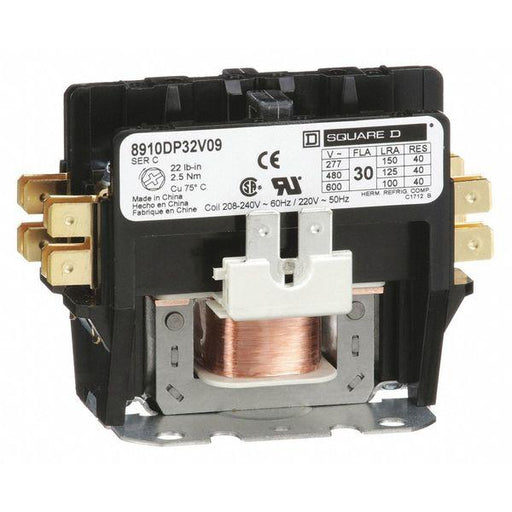 8910DP32V09 - Square D 30 Amp 2 Pole 600 Volt Definite Purpose Contactors
