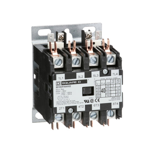 8910DPA44V02 - Square D 40 Amp 4 Pole 120 Volt Definite Purpose Contactor