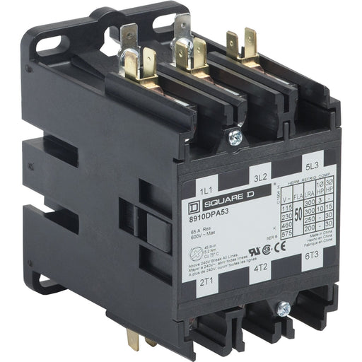 8910DPA53V06 - Square D 50 Amp 3 Pole 480 Volt Definite Purpose Contactor