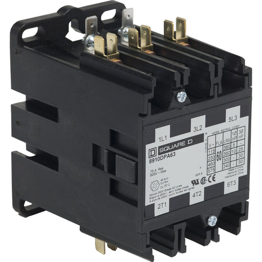 8910DPA63V09 - Square D 60 Amp 3 Pole 240 Volt Definite Purpose Contactor