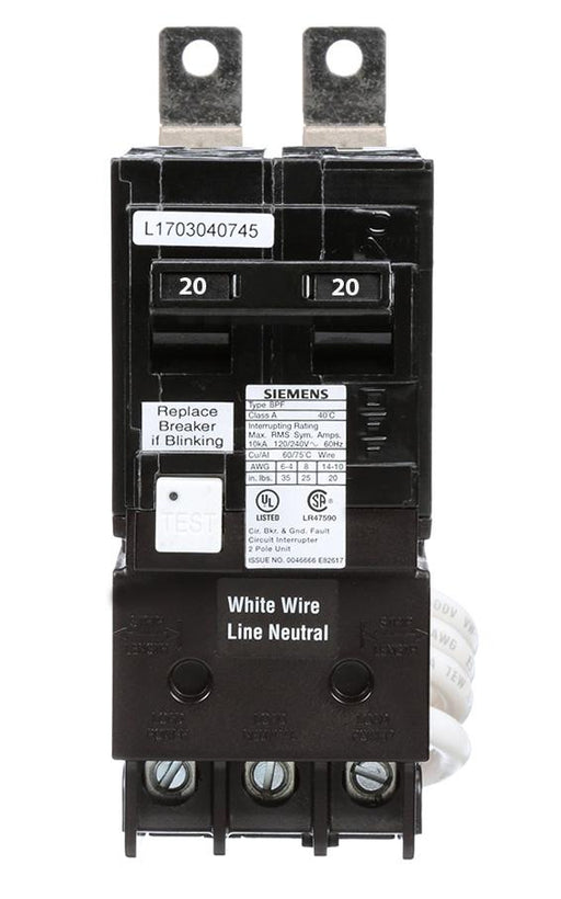 BF220 - Siemens 20 Amp Double Pole Ground Fault Bolt-On Circuit Breaker