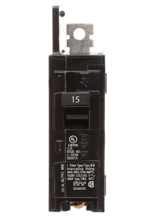 BQ1B015 - Siemens 15 Amp Single Pole 120V BQ Bolt-On Circuit Breaker