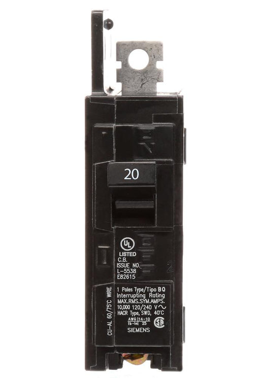 BQ1B020 - Siemens 20 Amp Single Pole 120V BQ Bolt-On Circuit Breaker