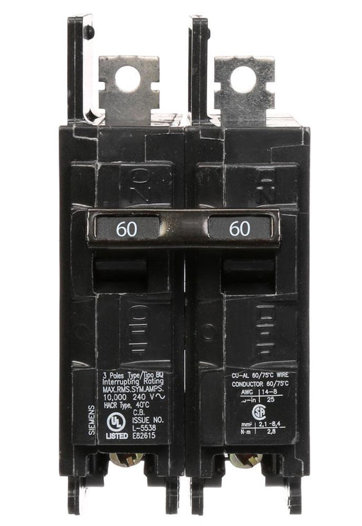 BQ2B060 - Siemens 60 Amp Double Pole 120/240V BQ Bolt-On Circuit Breaker
