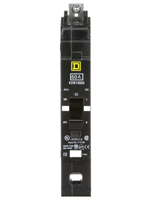 EDB14060 - Square D 60 Amp 1 Pole 277 Volt Bolt-On Molded Case Circuit Breaker