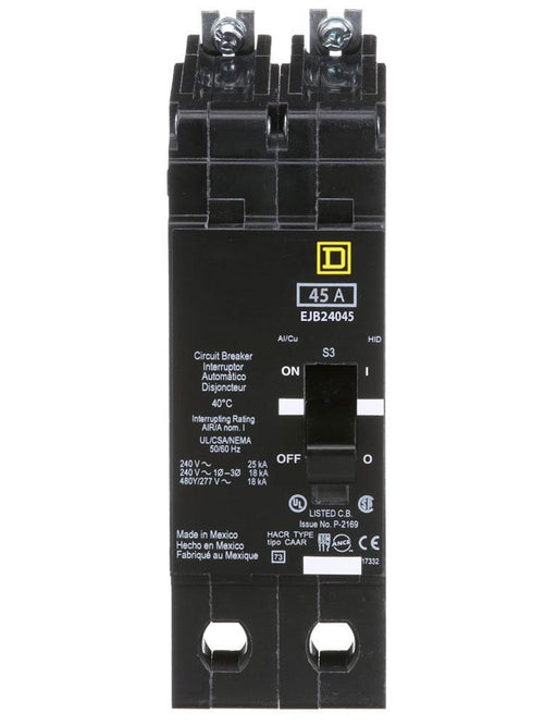 EJB24045 - Square D 45 Amp 2 Pole 480 Volt Bolt-On Molded Case Circuit Breaker