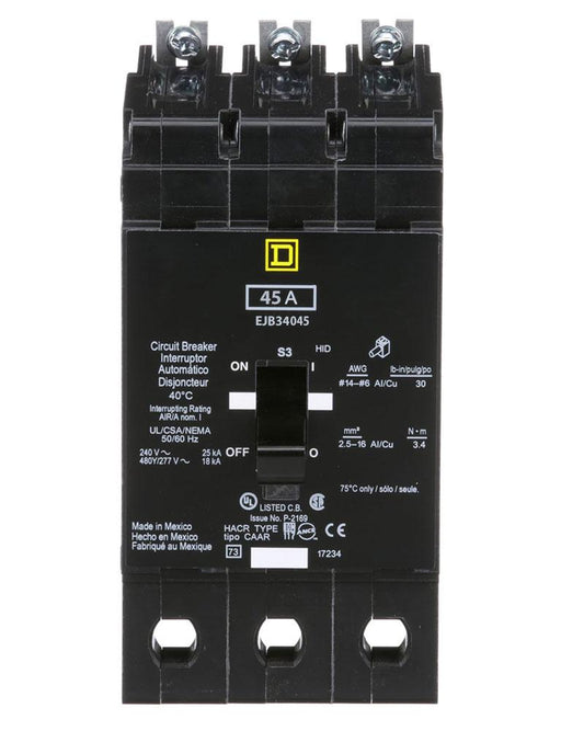 EJB34045 - Square D 45 Amp 3 Pole 480 Volt Bolt-On Molded Case Circuit Breaker