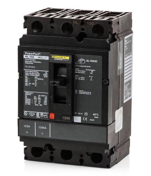 HLL36125LV - Square D 125 Amp 3 Pole 600 Volt Molded Case Circuit Breaker