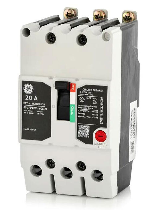 TEYH3020B - GE 20 Amp 3 Pole 480 Volt Bolt-On Molded Case Circuit Breaker