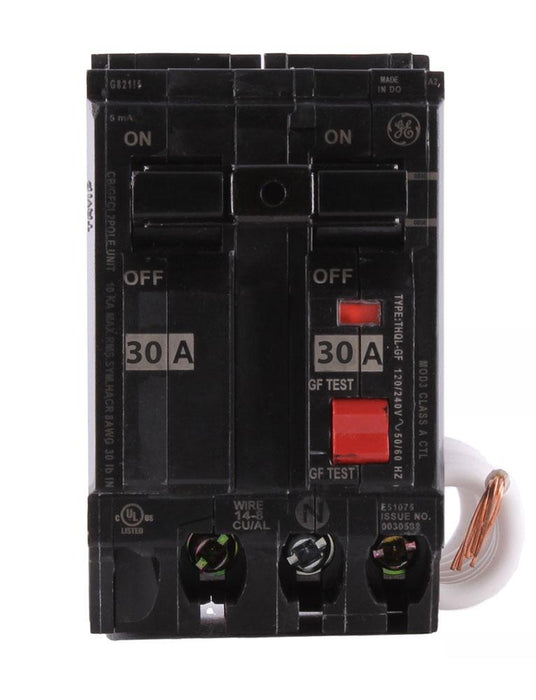 THQL2130GF1 - GE 30 Amp Double Pole Ground Fault Circuit Breaker