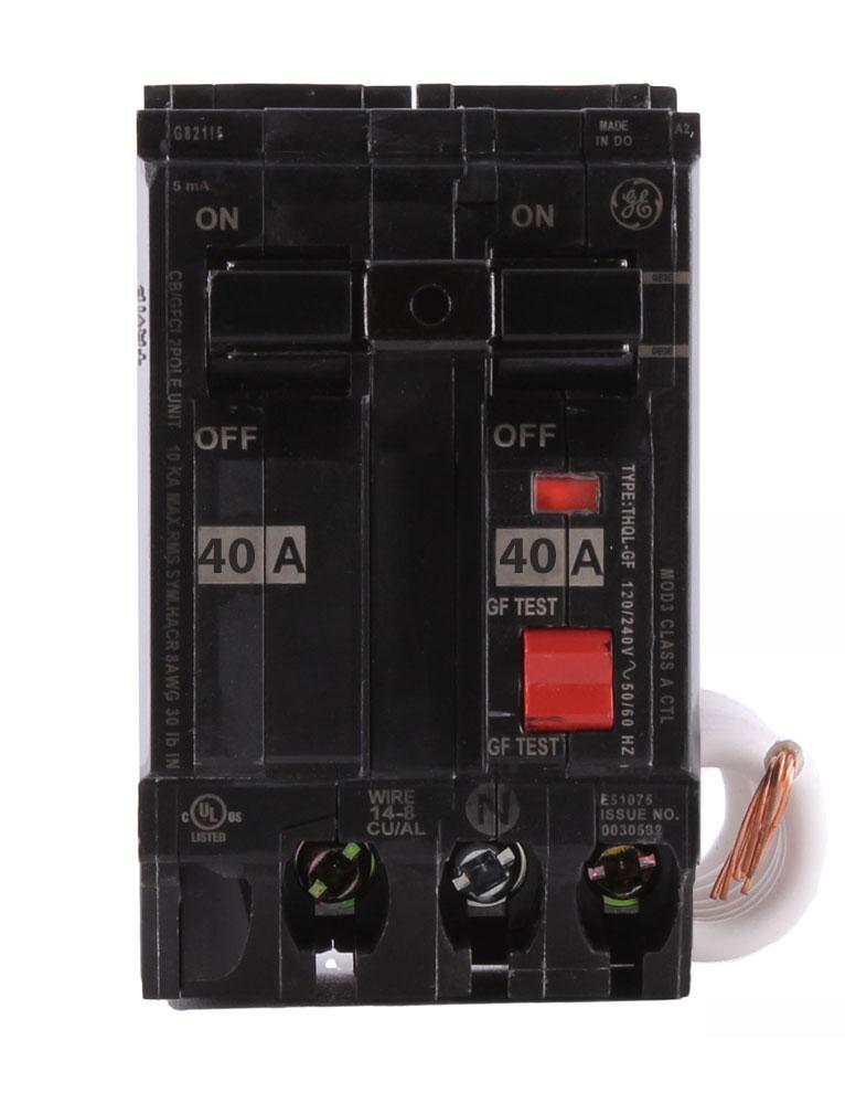 THQL2140GF1 - GE 40 Amp Double Pole Ground Fault Circuit Breaker