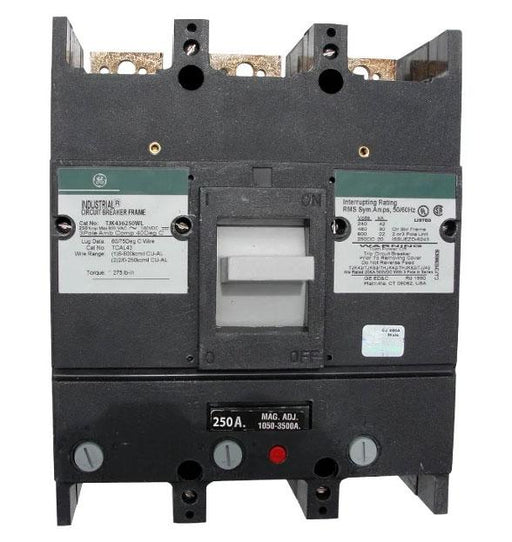 TJK436250WL - General Electric 250 Amp 3 Pole 600 Volt Thermal Magnetic Circuit Breaker