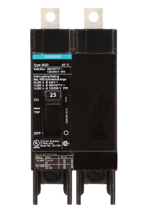 BQD225 - Siemens 25 Amp 2 Pole 480 Volt Bolt-On Molded Case Circuit Breaker