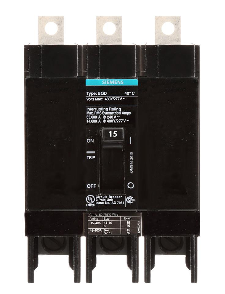 BQD315 - Siemens 15 Amp 3 Pole 480 Volt Bolt-On Molded Case Circuit Breaker