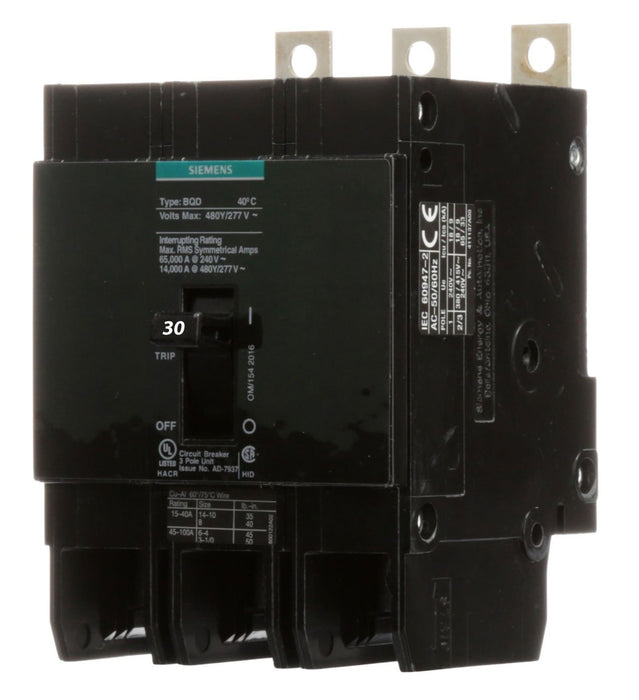 BQD330 - Siemens 30 Amp 3 Pole 480 Volt Bolt-On Molded Case Circuit Breaker