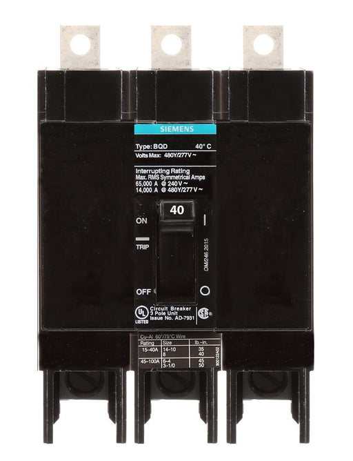 BQD340 - Siemens 40 Amp 3 Pole 480 Volt Bolt-On Molded Case Circuit Breaker