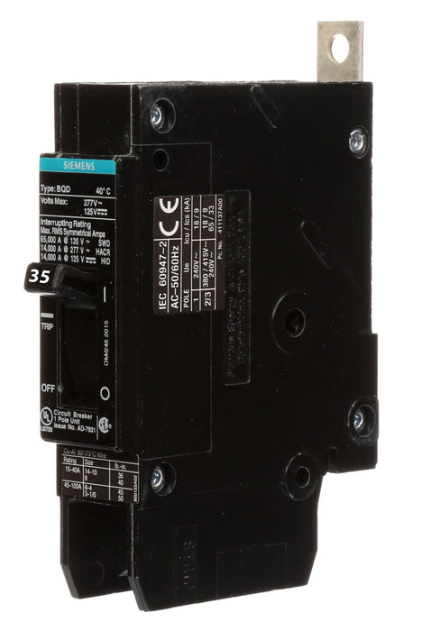 BQD6135 - Siemens 35 Amp 1 Pole 347 Volt Bolt-On Molded Case Circuit Breaker