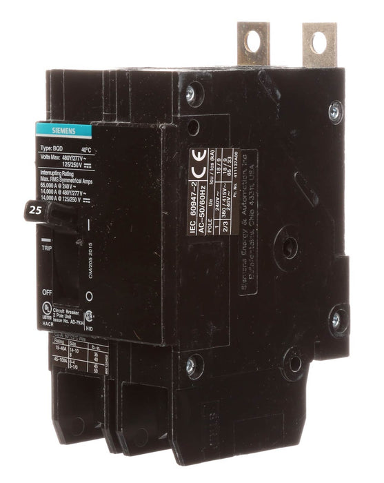 BQD6225 - Siemens 25 Amp 2 Pole 600 Volt Bolt-On Molded Case Circuit Breaker