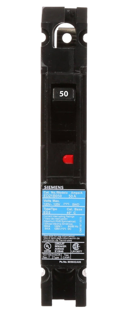 ED21B050 - Siemens 50 Amp 1 Pole 120 Volt Bolt-On Molded Case Circuit Breaker