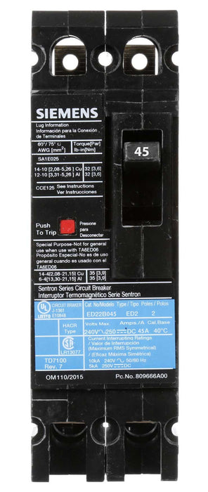 ED22B045 - Siemens 45 Amp 2 Pole 240 Volt Bolt-On Molded Case Circuit Breaker