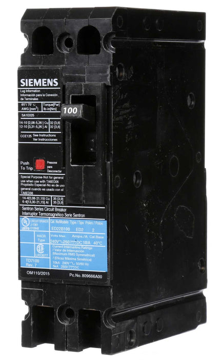 ED22B100 - Siemens 100 Amp 2 Pole 240 Volt Bolt-On Molded Case Circuit Breaker