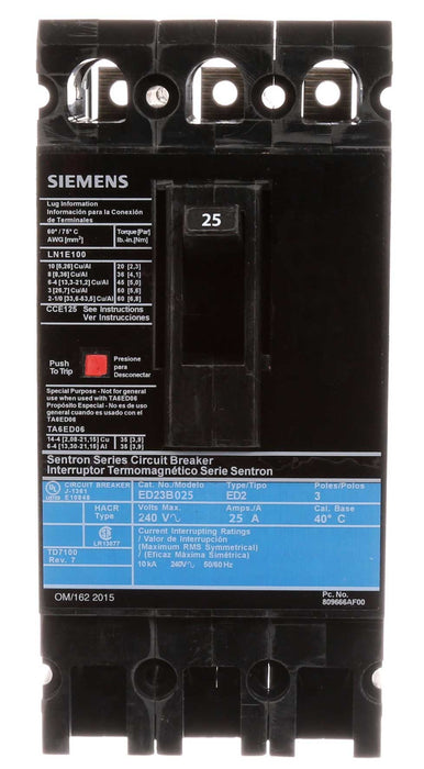 ED23B025 - Siemens 25 Amp 3 Pole 240 Volt Bolt-On Molded Case Circuit Breaker