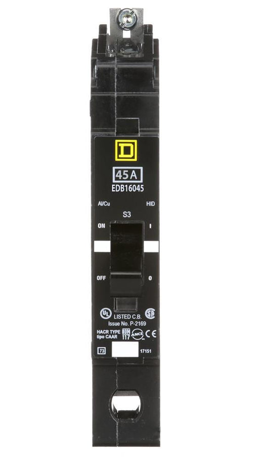 EDB16045 - Square D 45 Amp 1 Pole 600 Volt Bolt-On Molded Case Circuit Breaker