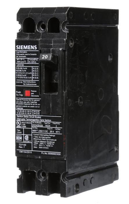 HED42B020 - Siemens 20 Amp 2 Pole 480 Volt Bolt-On Molded Case Circuit Breaker