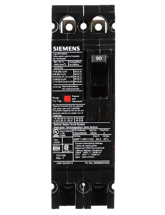 HED42B090 - Siemens 90 Amp 2 Pole 480 Volt Bolt-On Molded Case Circuit Breaker