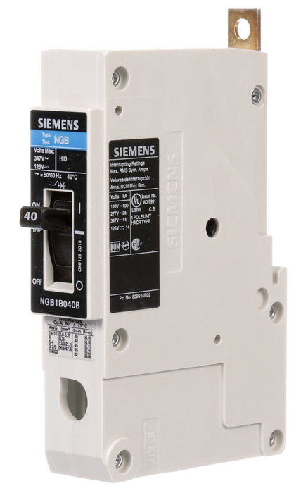 NGB1B040B - Siemens 40 Amp 1 Pole 347 Volt Bolt-On Molded Case Circuit Breaker