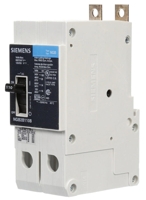 NGB2B110B - Siemens 110 Amp 2 Pole 600 Volt Bolt-On Molded Case Circuit Breaker