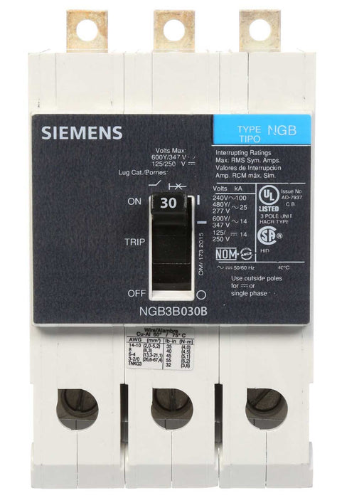 NGB3B030B - Siemens 30 Amp 3 Pole 600 Volt Bolt-On Molded Case Circuit Breaker