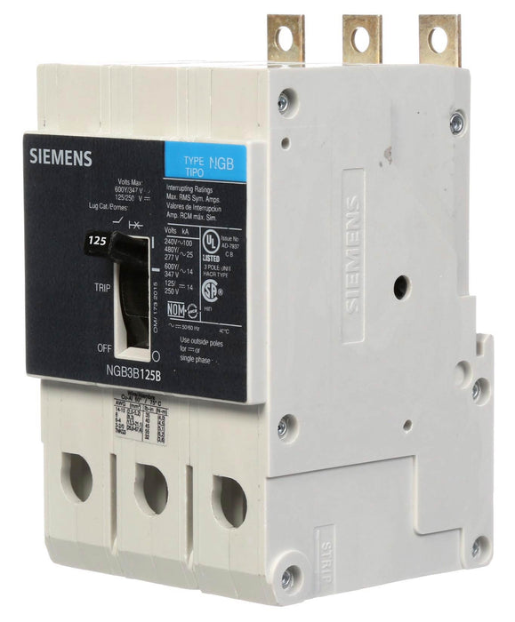 NGB3B125B - Siemens 125 Amp 3 Pole 600 Volt Bolt-On Molded Case Circuit Breaker
