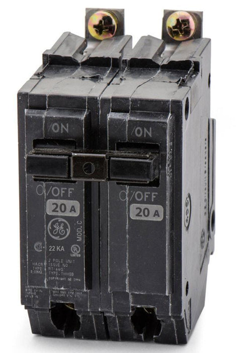 THHQB2120 - GE 20 Amp 2 Pole 240 Volt Bolt-On Molded Case Circuit Breaker