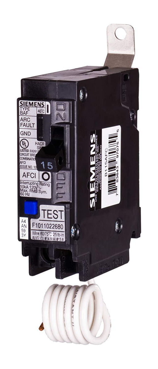 B115AFC - Siemens 15 Amp Single Pole Combination AFCI Arc Fault Bolt-On Circuit Breaker
