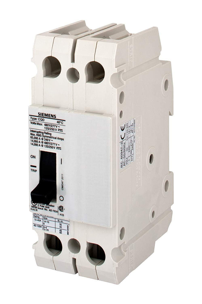 CQD270 - Siemens 70 Amp 2 Pole 480 Volt Molded Case Circuit Breaker