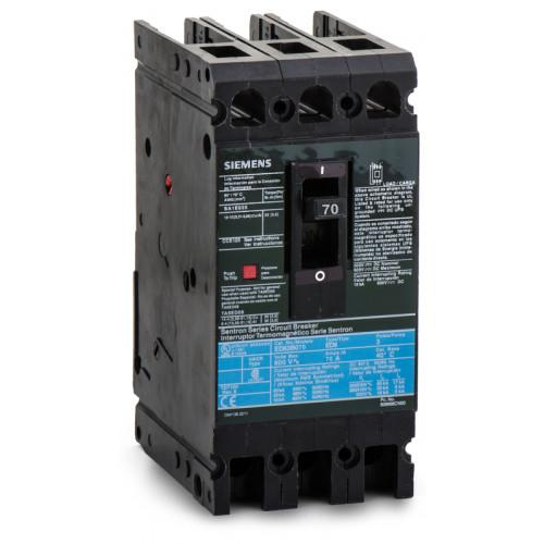 ED63B070 - Siemens 70 Amp 3 Pole 600 Volt Bolt-On Molded Case Circuit Breaker