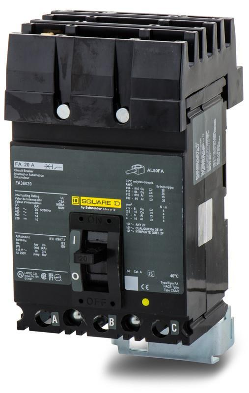 FA36020 - Square D 20 Amp 3 Pole 600 Volt Plug-In Molded Case Circuit Breaker
