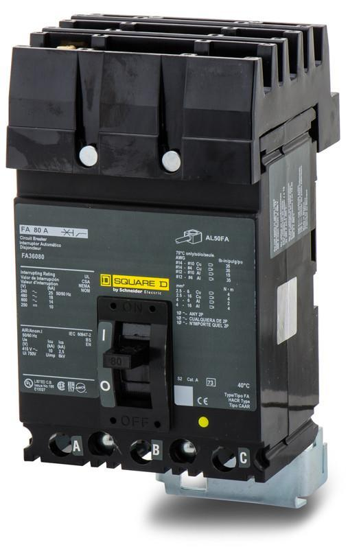 FA36080 - Square D 80 Amp 3 Pole 600 Volt Plug-In Molded Case Circuit Breaker